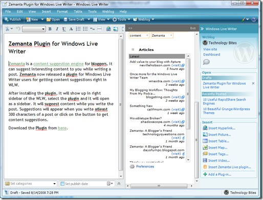Zemanta Windows Live Writer Plugin