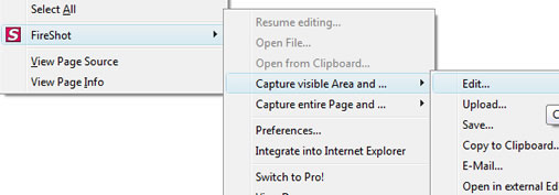 Fireshot addon for Firefox and IE