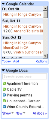 Gadgets in Gmail