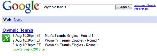 Google Search for Olympics