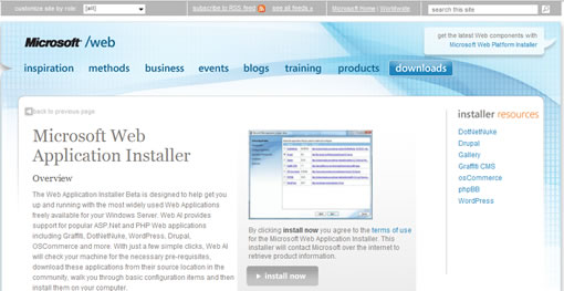 Microsoft Web Application installer Beta