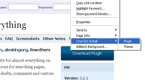 oneclick firefox extension