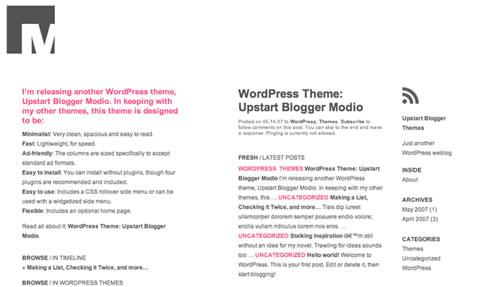 upstart blogger modio theme