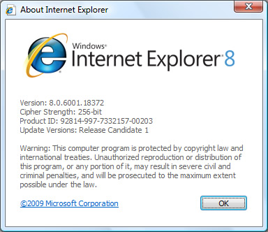 Download Internet Explorer 8 RC1 for Vista and XP