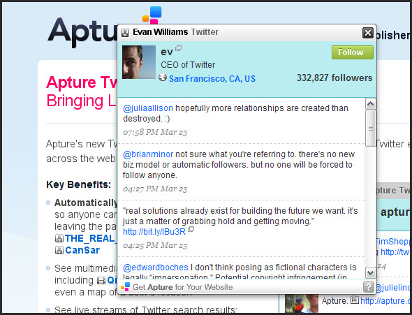 Apture with twitter
