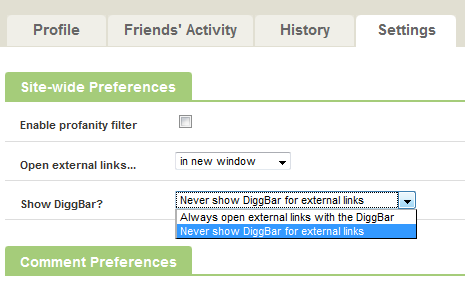 Turn off Diggbar from Viewing Preferences in Digg Profile settings