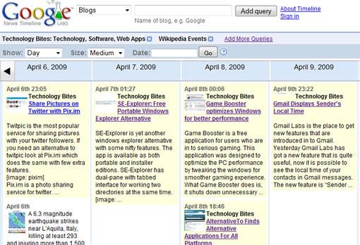 Google News Timeline lets you visualize news in chronological order on graphical timeline