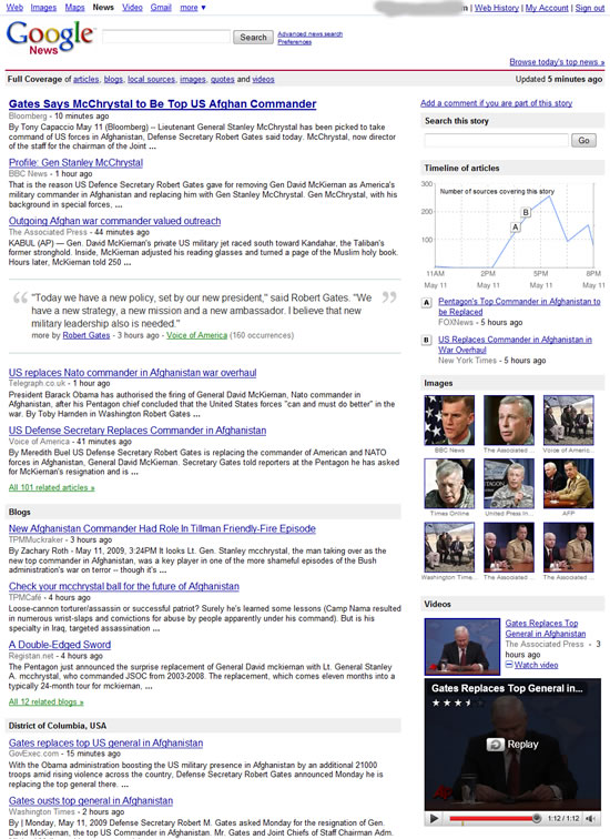 Google News now displays content from blogs, images, videos, local sources and quotes