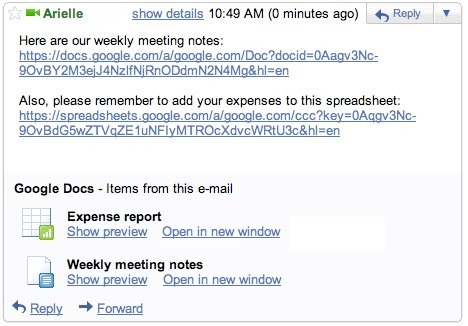 Google Docs Preview in Gmail