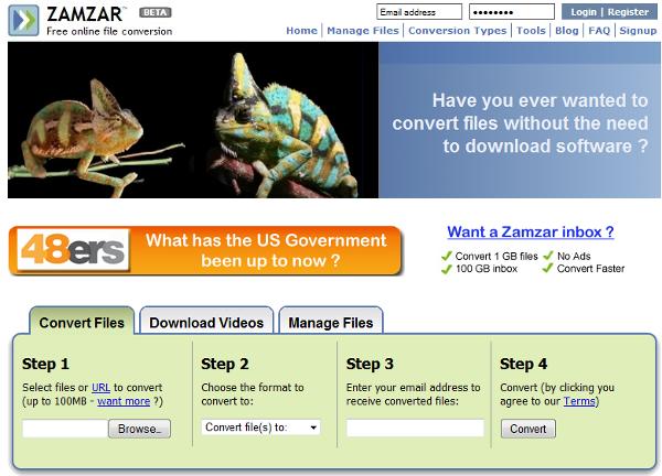 ZamZar File Conversion Tool