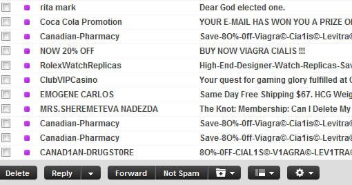 Yahoo mail spam box