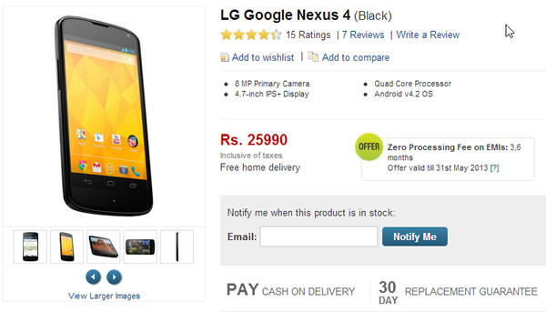 Google Nexus 4 is up for Pre-order t Flipkart