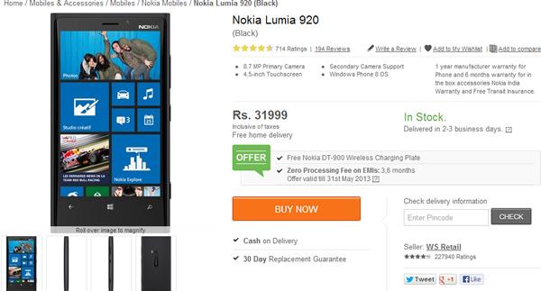 Nokia Lumia 920 Price Slashed