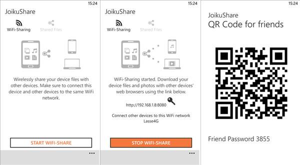 JoikuShare Share Files between Windows Phones