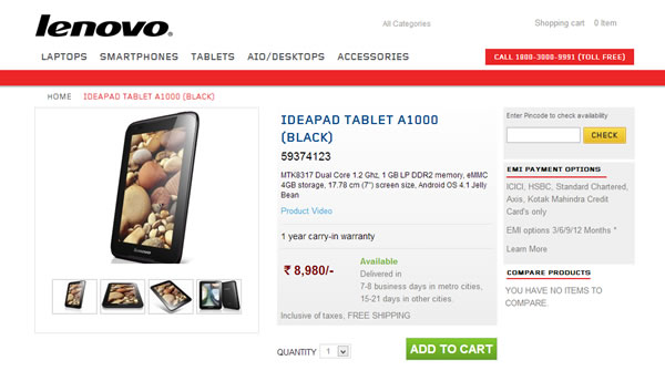 Lenovo IdeaPad A1000 Is Available In India At Rs 8980 Specifications Price Features