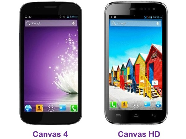 Micromax Canvas HD and Canvas 4 Comparison review