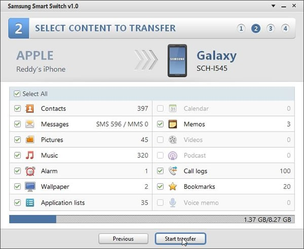 iPhone to Galaxy S4 messages, contacts tranfser