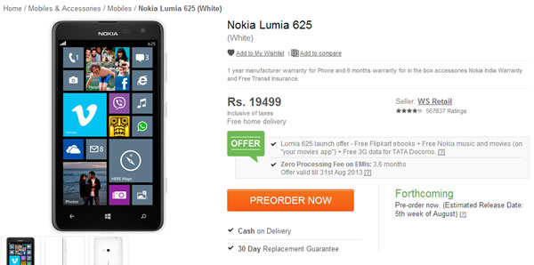 Nokia Lumia 625 is up for pre-order