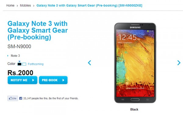 Samsung Galaxy Note 3 on pre-order now