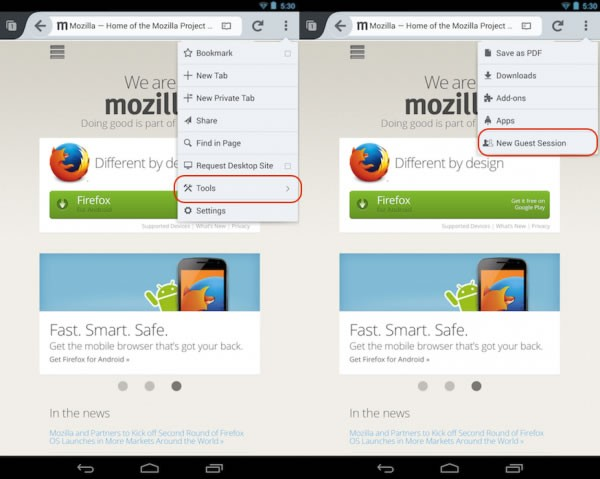 Firefox for Android adds Guest Browsing Mode