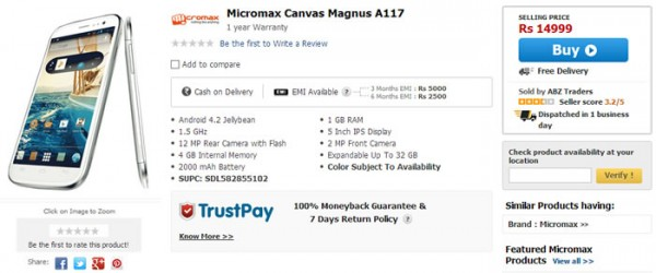 Micromax Canvas Magnus A117 Available now