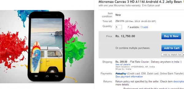 Micromax Canvas HD A116i Released