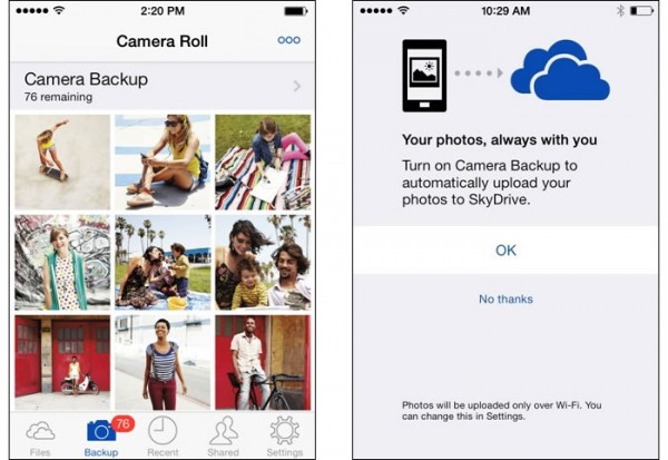 SkyDrive for iOS updated with auto upload photos from iPhone camera