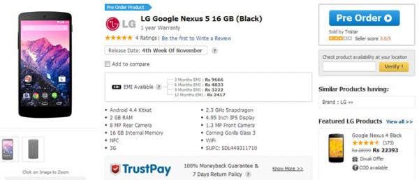 Nexus 5 pre orders begin in India