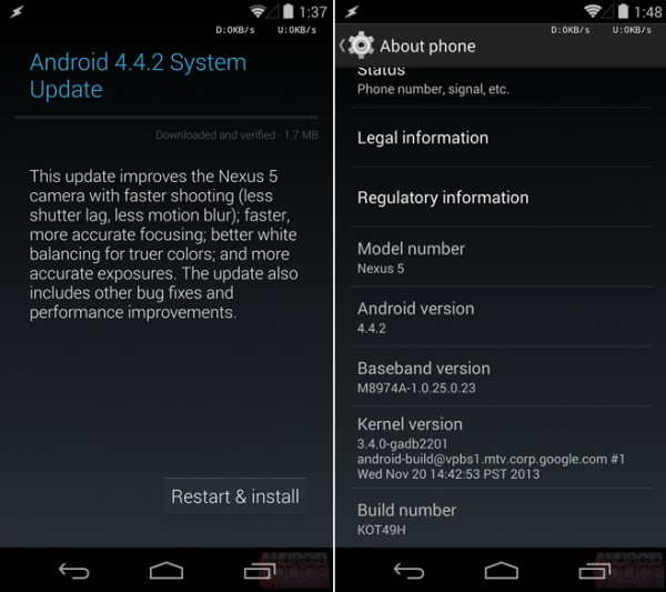 Android 4.4.2 Update rolling out for Nexus devices