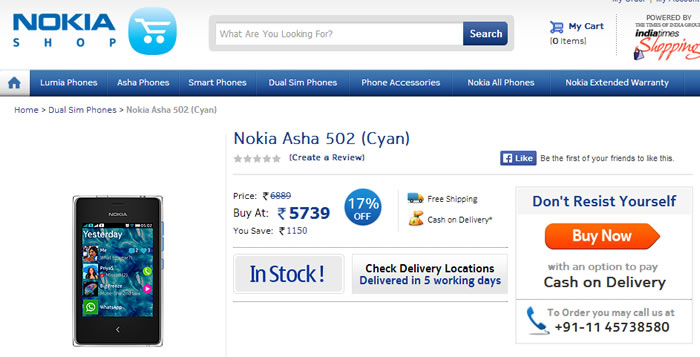 Asha 502 Launched in India